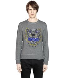 KENZO | Gray Tiger Embroidered Cotton Sweatshirt | Lyst