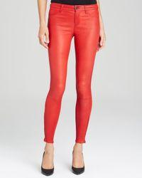 J Brand Pants - Lambskin Leather Skinny In Rebel Red