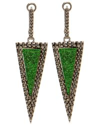 Kimberly Mcdonald | Green Uvaronite Garnet Diamond Triangle Earrings | Lyst