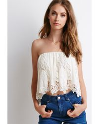 Forever 21 | Natural Crochet-paneled Chiffon Top | Lyst