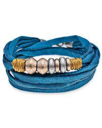 Platadepalo - Trend Blue Bracelet Gold & Silver Resin - Lyst