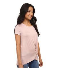 Bobeau - Pink Short Sleeve Knot T-shirt - Lyst
