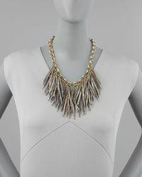 Ashley Pittman Metallic Grey Quill-Bead Necklace