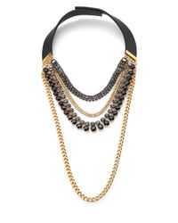 Marni - Black Draped Crystal Chain Necklace - Lyst