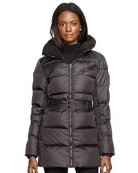 Lauren by Ralph Lauren | Black Belted Quilted Jacket With Faux Shearling Trim | Lyst