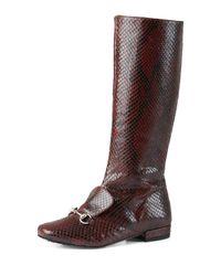 Gucci - Purple Pythonskin Riding Boots - Lyst