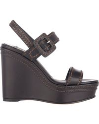 Prada | Black Double-Band Platform Wedge Sandals | Lyst