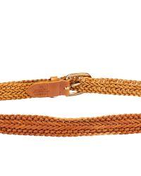 Linea Pelle   Brown Vintage Skinny Braid Belt   Lyst