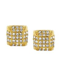 Vince Camuto - Metallic Goldtone Glass Stone Twopart Stud Earrings - Lyst