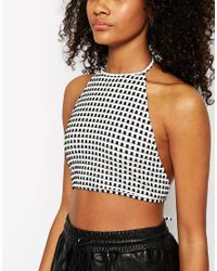 ASOS | Black Crop Top With Halter Neck And Tie Back In Gingham Print | Lyst