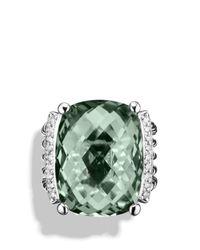 David Yurman Metallic Wheaton Ring With Prasiolite And Diamonds