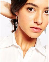 Pieces - Metallic Venta Chain & Crystal Drop Earrings - Lyst