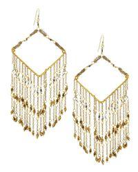Nakamol - Metallic Chevron-beaded Chain Fringe Earrings - Lyst