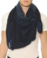 Alexander McQueen | Blue Burnout Skull-printed Scarf for Men | Lyst