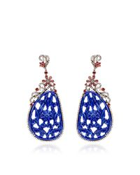 Bochic | Blue Carved Lapis Brown Diamond and Orange Sapphire Earrings | Lyst