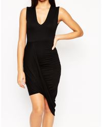 ASOS - Black Dress With Drape Detail And V Neck - Lyst