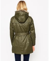 Mango - Green Coated Hooded Parka With Detachable Faux Fur Lining - Lyst