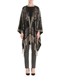 Etro   Black Shearling Trimmed Tweed Wrap Coat   Lyst