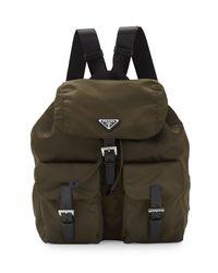 Prada Green Vela Medium Backpack