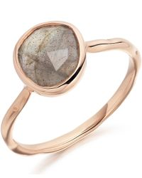 Monica Vinader | Pink Rose Gold Vermeil Labradorite Siren Stacking Ring | Lyst