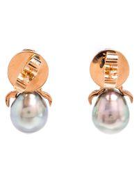 Daniela Villegas | Metallic Diamond & Pearl Stud Earrings | Lyst