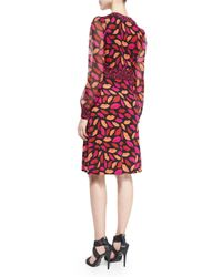 Diane von Furstenberg Red Dvf Leyah Silk Jersey And Chiffon Combo Dress