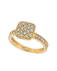 Lord & Taylor | Metallic 14kt Yellow Gold And Diamond Square Ring | Lyst
