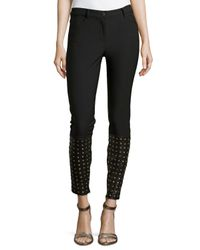 Nicole Miller - Black Cole Denim Pants With Studded Leather Detail - Lyst