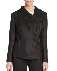 T Tahari | Black Trisha Leather Drape Jacket | Lyst