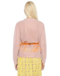 Emilio Pucci Pink Logo Embroidered Double Tulle Sweatshirt