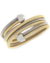 BCBGeneration | Metallic Two-tone Coil Stretch Wrap Bracelet | Lyst