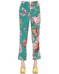 Gucci | Green Blooms Printed Silk Georgette Pants | Lyst