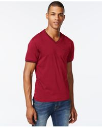 Armani Jeans | Red Double-layer V-neck T-shirt for Men | Lyst