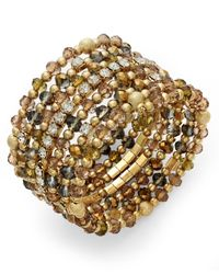 INC International Concepts | Metallic Gold-tone Crystal Olive Bead Coil Bracelet | Lyst