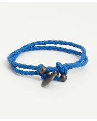 Bottega Veneta | Blue Braided Leather Charm Bracelet | Lyst