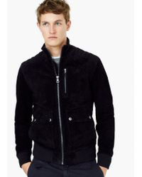 Mango - Black Flap-pocket Suede Jacket for Men - Lyst