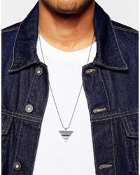ASOS - Metallic Geo-tribal Triangle Necklace In Silver for Men - Lyst