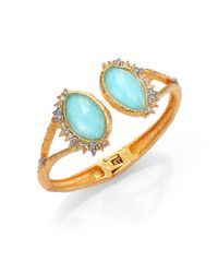 Alexis Bittar Blue Elements Gilded Muse Amazonite & Crystal Fancy-Cut Open Cuff Bracelet