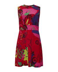 Etro Red Sleeveless Graffiti Dress