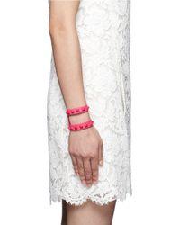 Valentino - Pink 'rockstud' Cutout Leather Bracelet - Lyst