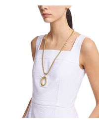 Tory Burch Metallic Oval Pendant Chain Necklace