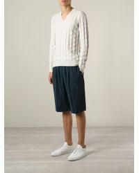 Giorgio Armani - Natural 'Relief' V-Neck Sweater for Men - Lyst