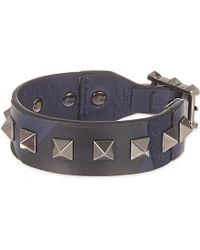 Valentino | Blue Studded Leather Bracelet, Men's, Navy Camo | Lyst
