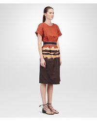 Bottega Veneta Multicolor Burnt Red Espresso Bleached Light Refined Ramie Cotton Dress