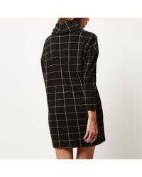 River Island Black Check Cowl Neck Ovoid Dress