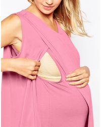 ASOS | Pink Maternity Nursing Crepe Wrap Top In Texture | Lyst
