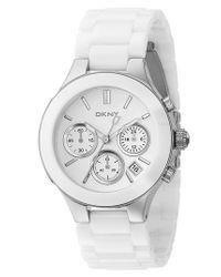 DKNY - Metallic 'chambers' Ceramic Chronograph Bracelet Watch - Lyst