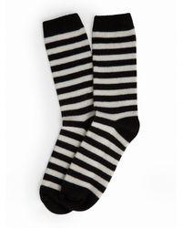 White + Warren Black Womens Cashmere Striped Socks