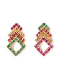 Khai Khai | Multicolor Diamond Stacked Studs | Lyst