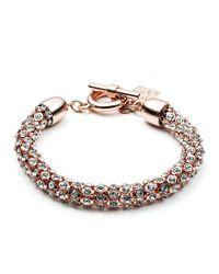 Anne Klein Pink Rose Goldtone And Crystal Bracelet